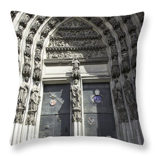 Cologne Cathedral Throw Pillow featuring the photograph South Entrance Main Doors by Teresa Mucha