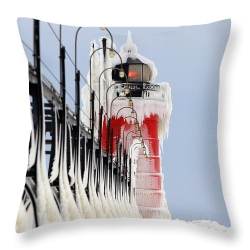 Castle Ice Frozen Lake Michigan Michigan Lighthouse Beauty Snows Beaches Attractions Historic Landscape Seascape Beauty Throw Pillow featuring the photograph South Haven Lighthouse Frozen Ice Castle by Jack Martin