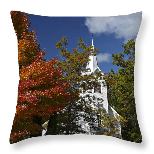 Fall Throw Pillow featuring the photograph South New Hope Church - Fall by Judy Johnson