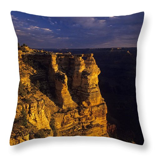 Grand Canyon National Park Throw Pillow featuring the photograph South Rim Grand Canyon Taken Near Mather Point Sunrise Light On by Jim Corwin