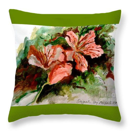 Nola Throw Pillow featuring the painting Southern Azalea In New Orleans by Michael Hoard