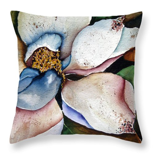 Magnolias Throw Pillow featuring the painting White Glory by Lil Taylor