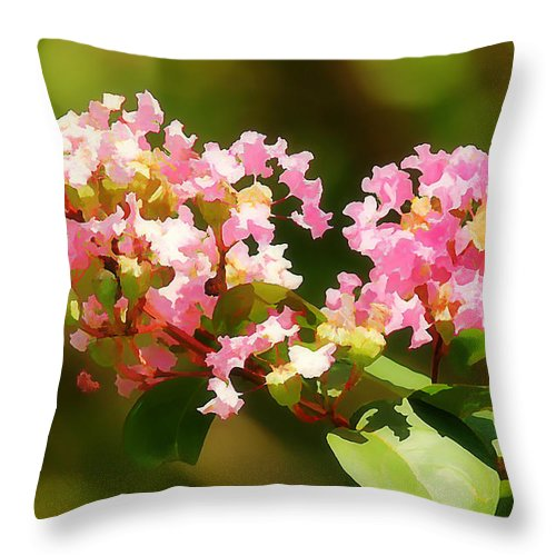 Crepe Myrtle Throw Pillow featuring the photograph Southern Myrtle by Jean Connor