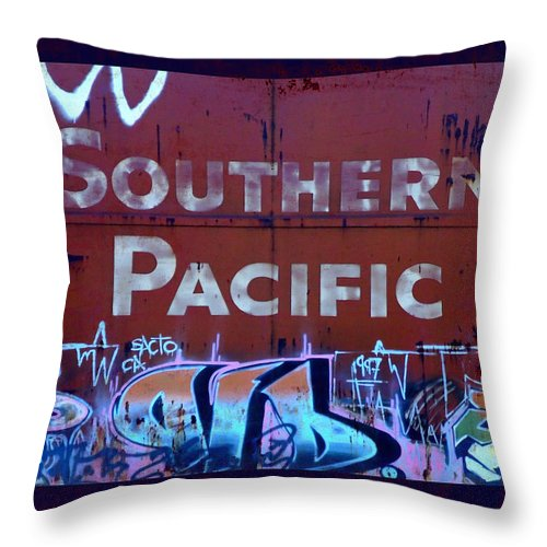 Tag Art Throw Pillow featuring the photograph Southern Pacific by Donna Blackhall