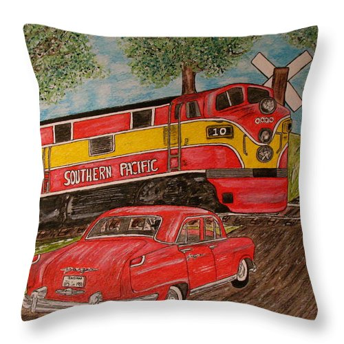 Southern Pacific Railroad Throw Pillow featuring the painting Southern Pacific Train 1951 Kaiser Frazer Car Rr Crossing by Kathy Marrs Chandler