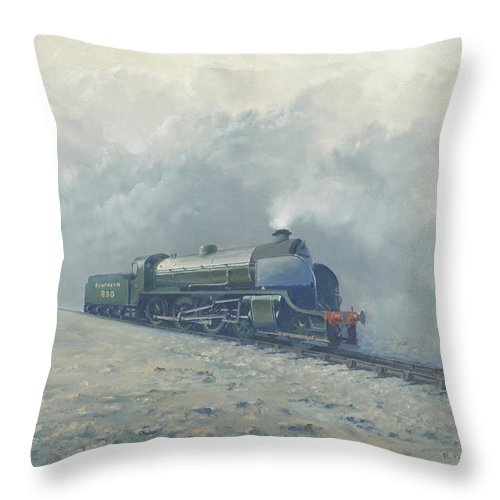 Steam Throw Pillow featuring the painting Southern Railway S15 by Richard Picton