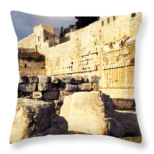 Israel Throw Pillow featuring the photograph Southern Temple Mount by Thomas R Fletcher