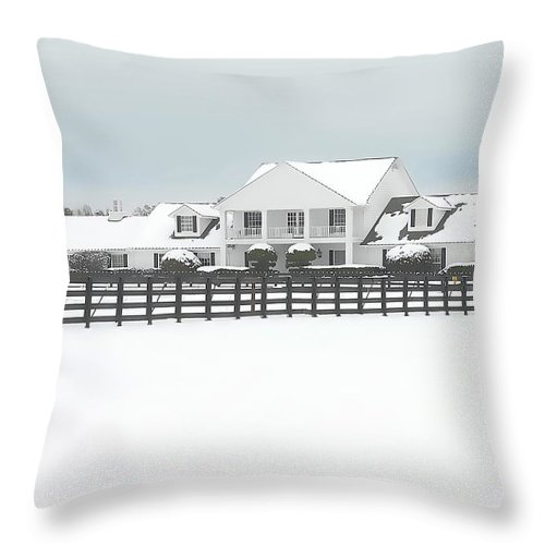 Southfork Ranch Throw Pillow featuring the photograph Snow Covered Southfork Ranch  by Dyle  Warren