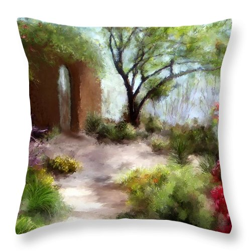 Southwest Paintings Throw Pillow featuring the painting The Meditative Garden by Colleen Taylor