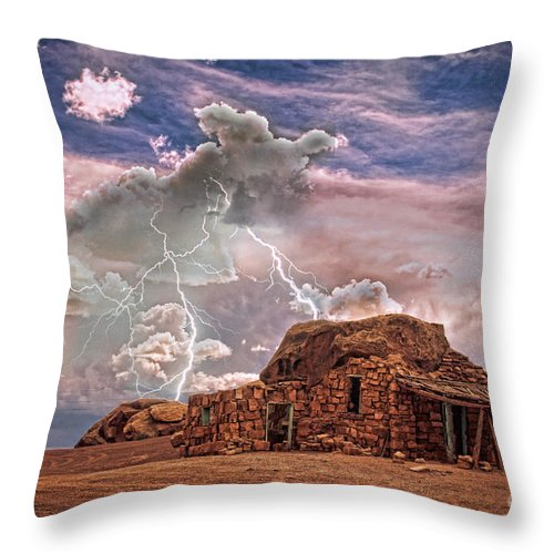 Rock House Throw Pillow featuring the photograph Southwest Navajo Rock House And Lightning Strikes Hdr by James BO Insogna