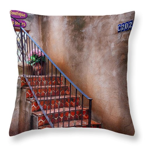 Southwest Architecture Throw Pillow featuring the photograph Southwest Staircase by Ron White