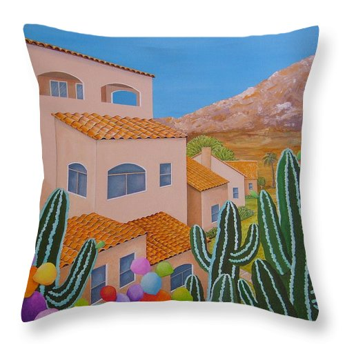 Acrylic Throw Pillow featuring the painting Southwests Summer Fiesta Left Canvas by Carol Sabo