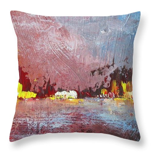 Sea Throw Pillow featuring the painting Souvenir De Vacances #37 - Memory Of A Vacation #37 by France Gionet