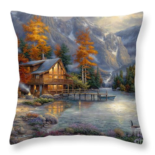 Mountain Cabin Throw Pillow featuring the painting Space for Reflection by Chuck Pinson