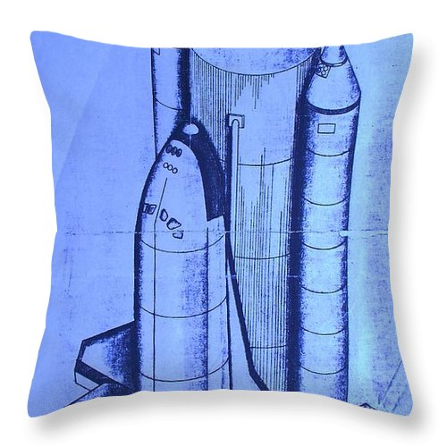 Space Shuttle Throw Pillow featuring the painting Space Shuttle by Eric Schiabor
