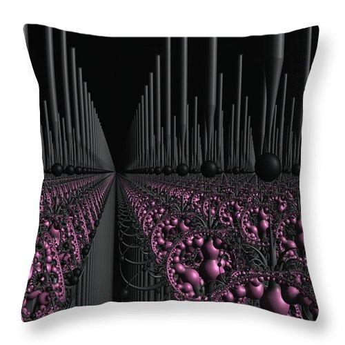 3d Fractal Throw Pillow featuring the digital art Space Station Garden 3d Fractal by Judi Suni Hall