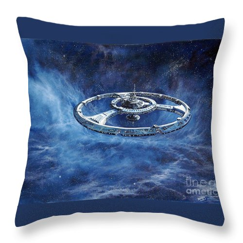 Sci-fi Throw Pillow featuring the painting Deep Space Eight Station Of The Future by Murphy Elliott