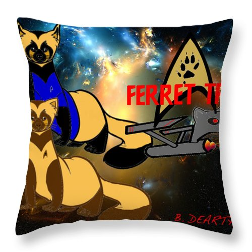 Star Trek Throw Pillow featuring the digital art Space The Ferret Frontier by Brian Dearth