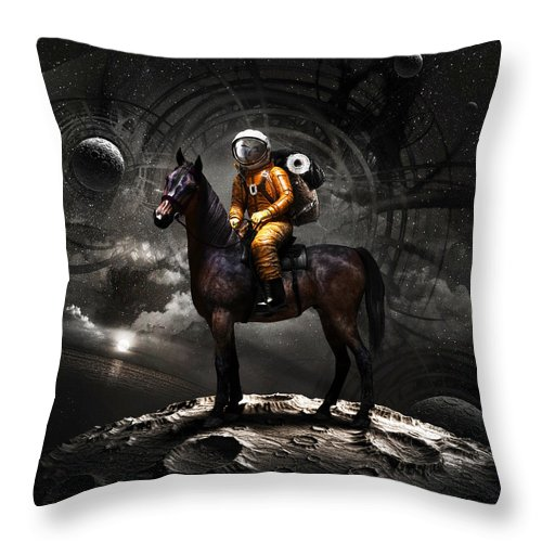 Space Throw Pillow featuring the digital art Space tourist by Vitaliy Gladkiy