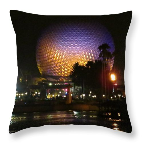 Night Throw Pillow featuring the photograph Spaceship Earth At Night by Zina Stromberg