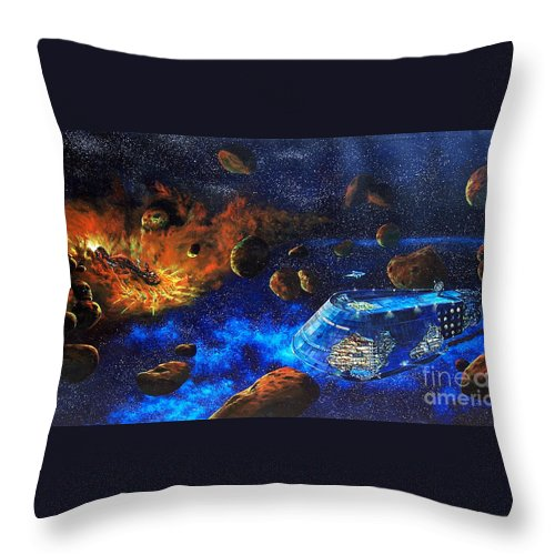 Future Throw Pillow featuring the painting Spaceship Titanic by Murphy Elliott