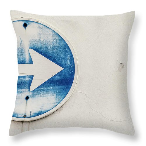 Outdoors Throw Pillow featuring the photograph Spain, Arrow Sign, Close Up by Westend61