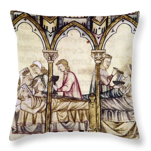 13th Century Throw Pillow featuring the photograph Spain: Medieval Hospital by Granger
