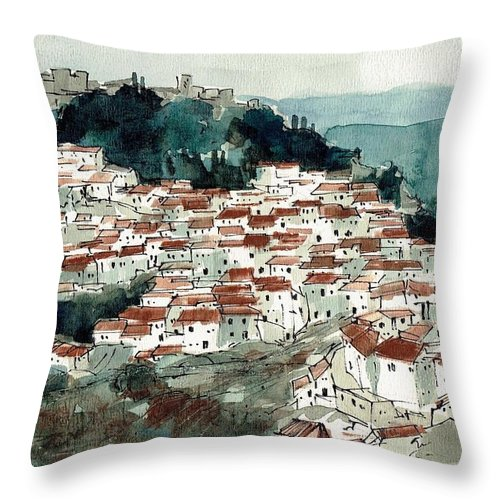Spain Throw Pillow featuring the painting Spanish Hillside Village by Renee Benoit