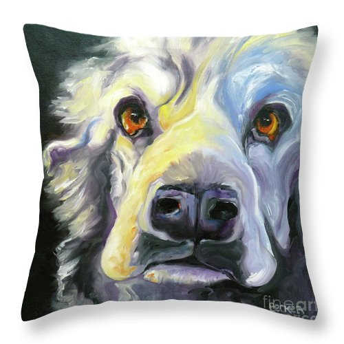 Dogs Throw Pillow featuring the painting Spaniel In Thought by Susan A Becker