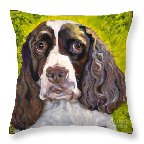Dogs Throw Pillow featuring the painting Spaniel The Eyes Have It by Susan A Becker