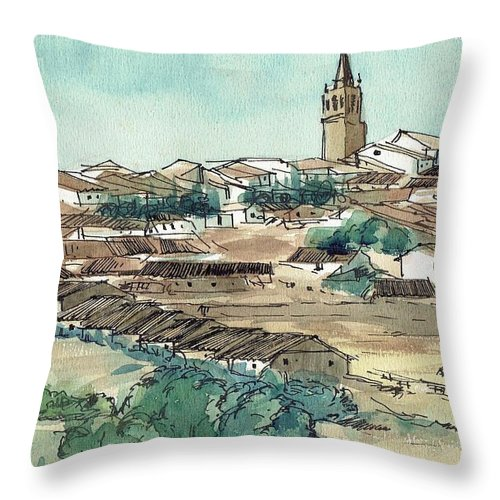 Spain Throw Pillow featuring the painting Spanish Church Tower by Renee Benoit