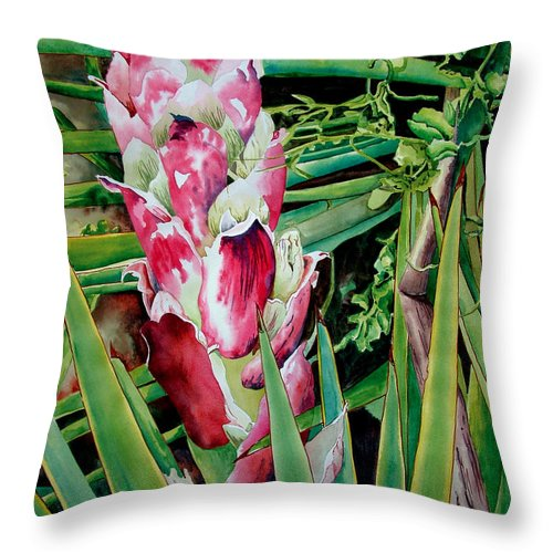 Floral Painting Throw Pillow featuring the painting Spanish Dagger IIi by Kandyce Waltensperger