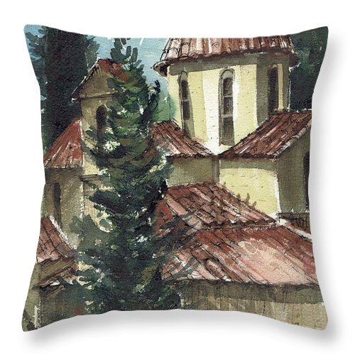 Spain Throw Pillow featuring the painting Spanish Rooftops by Renee Benoit