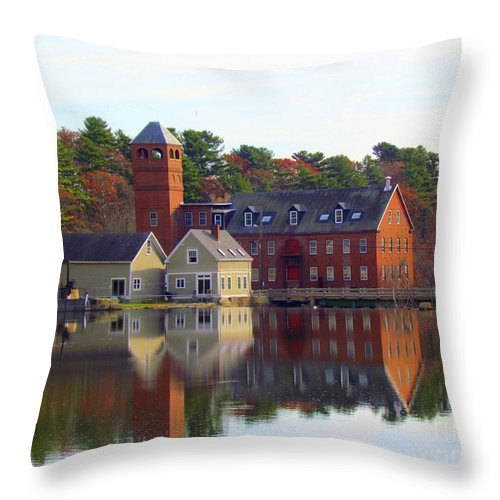 Royal River Throw Pillow featuring the photograph Sparhawk Mill by Elizabeth Dow