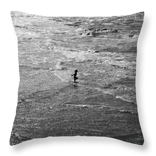 Girl In Sea Photographs Throw Pillow featuring the photograph Sparkling by David Davies