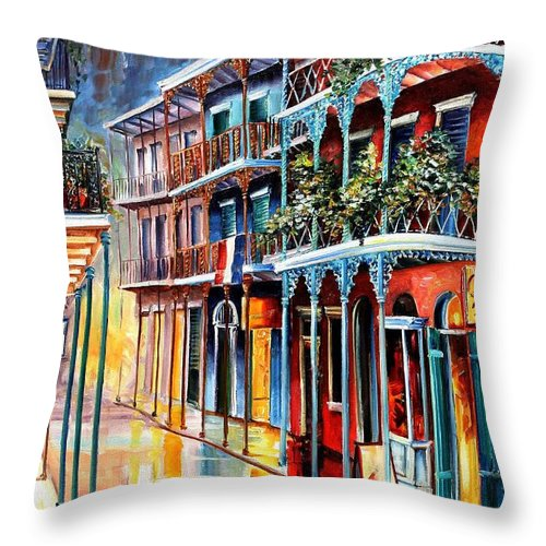 New Orleans Throw Pillow featuring the painting Sparkling French Quarter by Diane Millsap