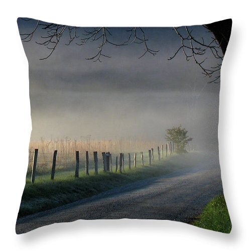 Fence Throw Pillow featuring the photograph Sparks Lane Sunrise by Douglas Stucky