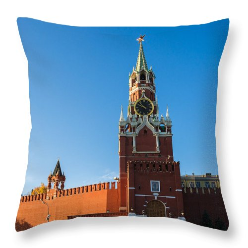 Architecture Throw Pillow featuring the photograph Spassky - Savior's - Tower - Square by Alexander Senin