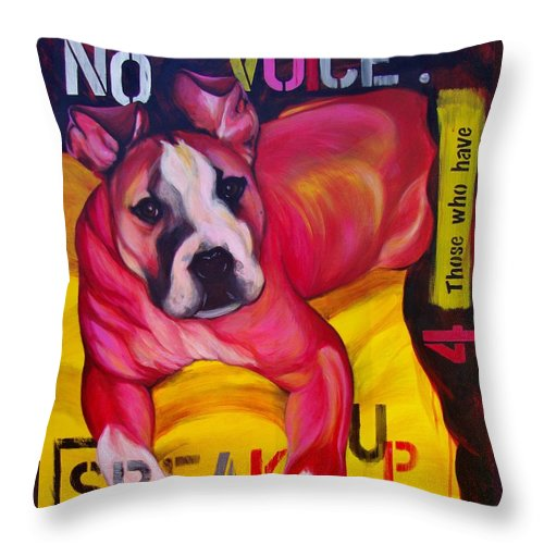 Throw Pillow featuring the painting Speak Up by Lesley McVicar