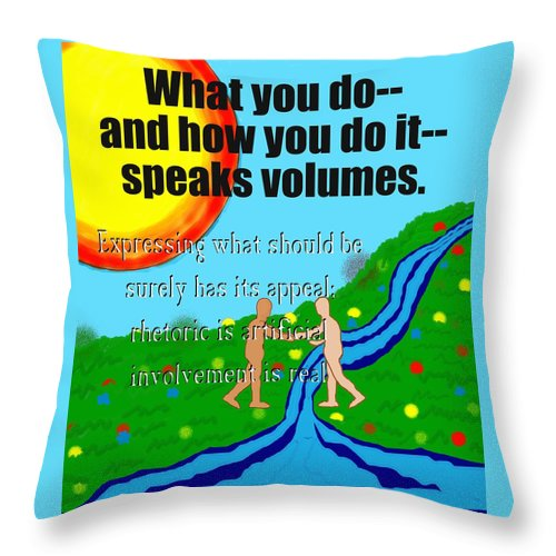 Action Throw Pillow featuring the painting Speaks Volumes by Pharris Art
