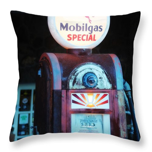 Mobil Throw Pillow featuring the photograph Special Mobilgas by Valerie Loop
