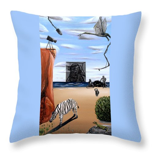 Abstract Throw Pillow featuring the painting Species Differentiation -darwinian Broadcast- by Ryan Demaree
