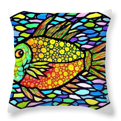 Fish Throw Pillow featuring the painting Speckled Tropical Fish by Jim Harris