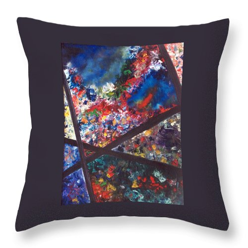 Abstract Throw Pillow featuring the painting Spectral Chaos by Micah Guenther