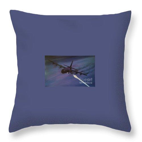 C130 Throw Pillow featuring the painting Spectre Ac130 Gunship 5 X 3 Feet by Richard John Holden RA