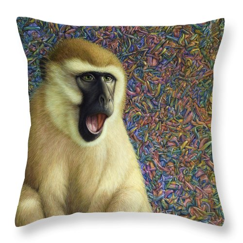 Monkey Throw Pillow featuring the painting Speechless by James W Johnson