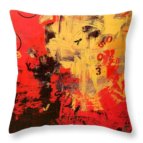 Abstract Throw Pillow featuring the painting Speechless by Laura Warburton