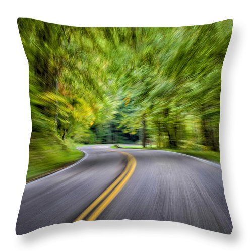 Road Throw Pillow featuring the photograph Speeding Through The Forest E42 by Wendell Franks