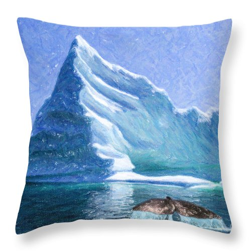 Iceberg Throw Pillow featuring the digital art Sperm Whale Fluke In Front Of Iceberg by Liz Leyden
