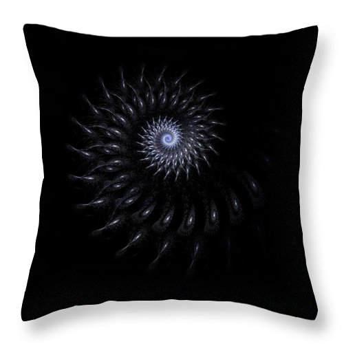 Grey Gray Black White Fractal Digital Art Abstract Expressionism Impressionism Sphere 6 Throw Pillow featuring the painting Sphere 6 by Steve K